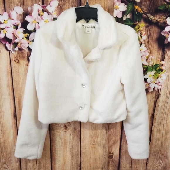 Knitworks Other - Girls Knitworks Heart Button Faux Fur Coat